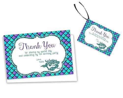 Amazon Aqua Purple Mermaid Thank You Card Birthday Baby Shower