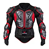 PIKAqiu33 Women/Men Motorcycle Full Body Armor Jacket Motocross Racing Spine Chest Protecto Coat Red