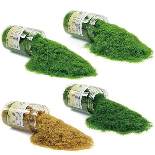 - CFA7 4 x 300ml Mixed 8mm Static Grass Terrain Powder Green Fake Grass Fairy Garden Miniatures Landscape Artificial Sand Table Model Railway Layout