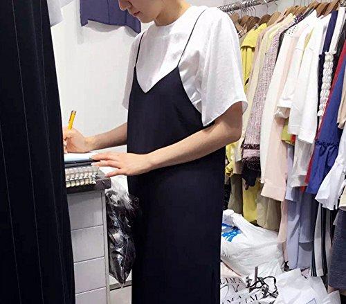 韓国 着痩せ レディース ワンピース ジョーゼットポンチ ロング キャミ キャミソール マキシ(注)白のブラウスは付いていません。