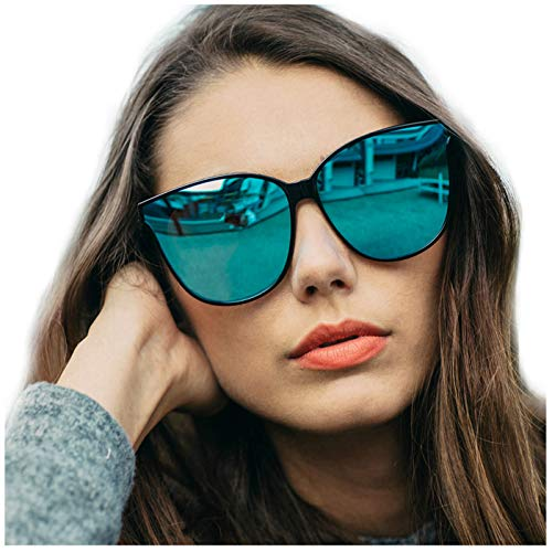LVIOE Cat Eyes Mirrored Sunglasses for Women, Polarized Oversized Fashion Vintage Eyewear for Driving Fishing UV400 Protection (Black1, Blue)