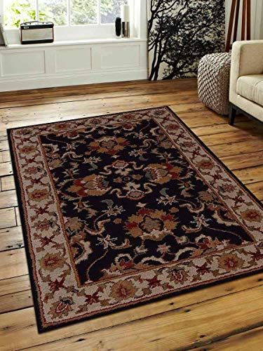 Rugsotic Carpets Hand Tufted Wool 4'x6' Area Rug Vintage Black White K00705 from Rugsotic Carpets