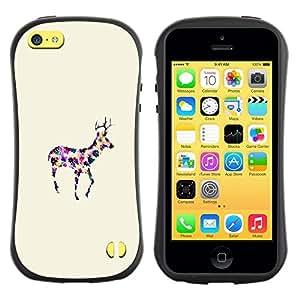 """Pulsar iFace Series Tpu silicona Carcasa Funda Case para Apple iPhone 5C , Minimalista colorido de la acuarela del reno"""""""