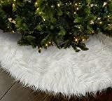OLYPHAN Christmas Tree Skirt - Large Snow White Luxury Faux Fur - 48 inches (4ft) / 36 inch (3 ft) / 30 inch Round for Under Xmas Tree Decorations (36 inches (3ft))