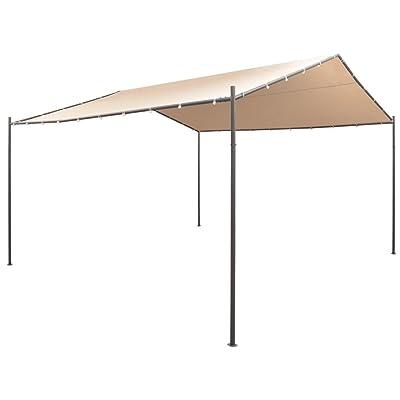 "vidaXL Gazebo Pavilion Tent Canopy 13' 1"" x13' 1"" Steel Beige : Garden & Outdoor"