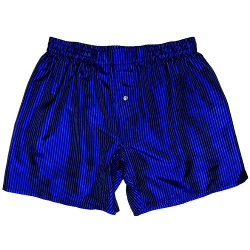 Pinstripe Blue Silk Boxers by Royal Silk - Size XL - 37