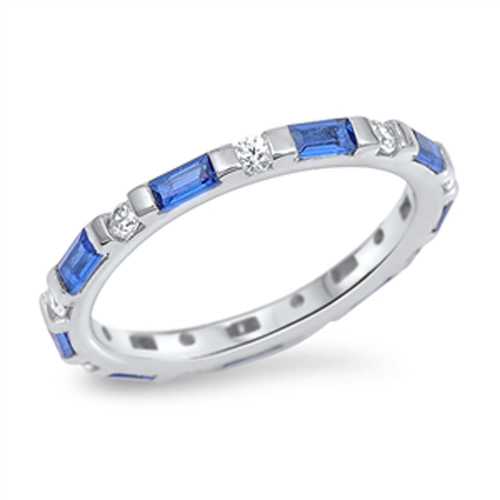 Sterling Silver White & Simulated Blue Sapphire CZ Baguette Eternity Band 3MM ( Size 5 to 10 ), 9