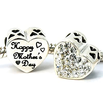 ".925 Sterling Silver ""2 Sided Happy Mother's Day / Clear Crystal on Heart"" Bead Charm for Snake Chain Charm Bracelet 4137"