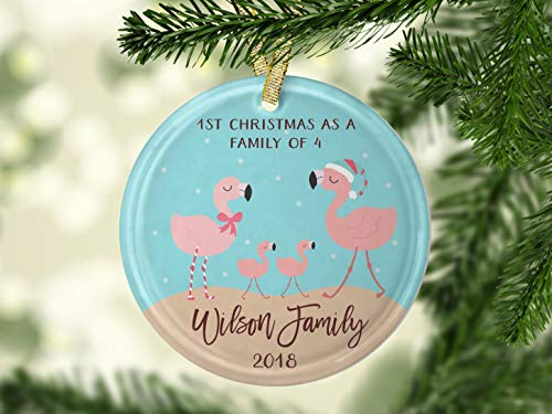 659ParkerRob Our First Christmas As A Family of Four Santa Flamingo Family of 4 Ornament Flamingo Ornament Flamingo Decor Blended Family Wedding Gift