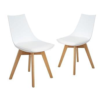 2er Set Esszimmerstühle mit Massivholz Bein, Retro Design ...