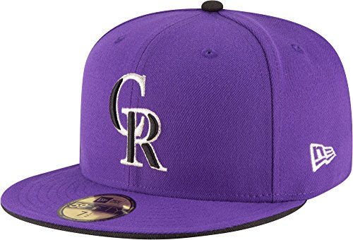 New Era 59fifty Colorado Rockies Authentic Collection Fitted Alt 2 Cap, Purple, 7.25 ()
