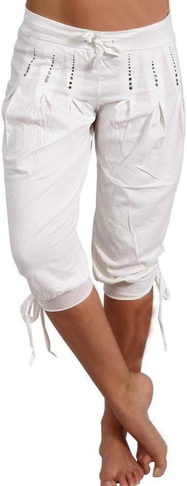 Puimentiua Pantalones 3 4 De Cintura Elastica Para Mujer Capris Pantalones Holgados Pierna Ancha Amazon Es Ropa Y Accesorios