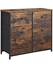 SONGMICS Rustic Drawer Dresser, Industrial Closet Storage with Metal Frame, Wooden Top ULGS23H