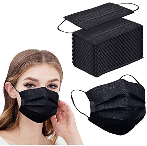 50pcs Black Disposable Face Masks Breathable 3-ply Mask