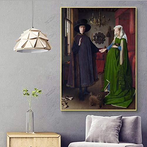XCPINGYIDU Cuadro Famoso Retrato de Boda Lienzo Pintura Cartel impresion Pared Arte Imagen para Pared de habitacion decoracion del hogar 50x75cm No Frame