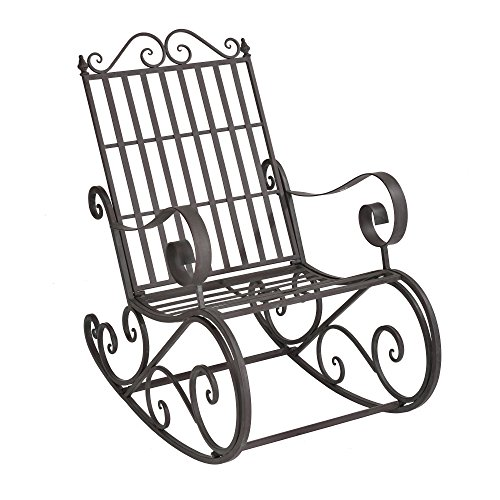 [casa.pro]® rocking bench / metal / chair / garden / outdoor / relaxing / decorative / retro style / furniture / dark green with light grey patina