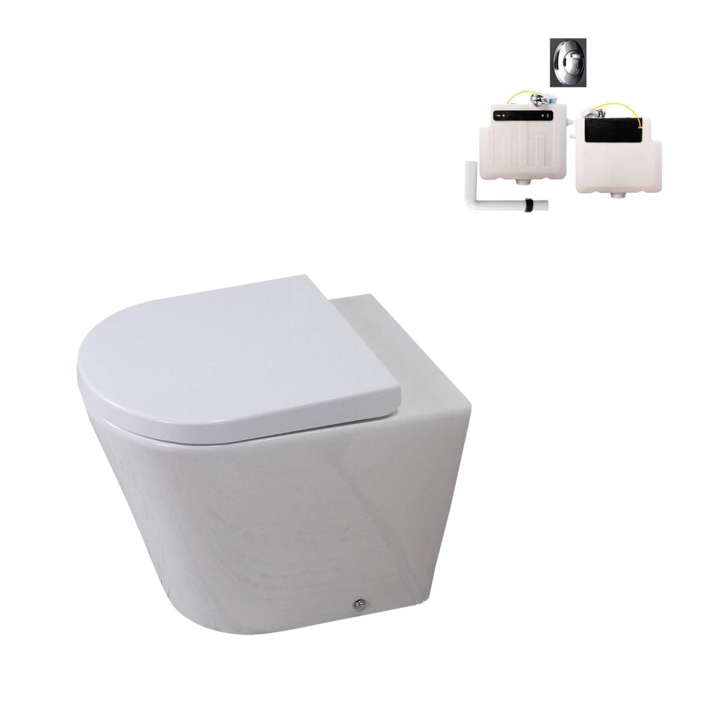 KLARA Toilet WC Bathroom Back to Wall Ceramic White Soft Closing Seat