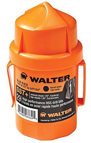 Walter Surface Technologies 01E118 29-Piece Quick-Shank Jobber's Length SST Drill Bit Set, Orange