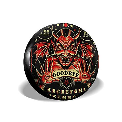 (Witch Devil Spirit Ouija Board Spare Tire Cover Polyester Waterproof Dust-Proof Universal Spare Wheel Tire Cover Fit for Jeep Trailer RV SUV and Many Vehicle 14