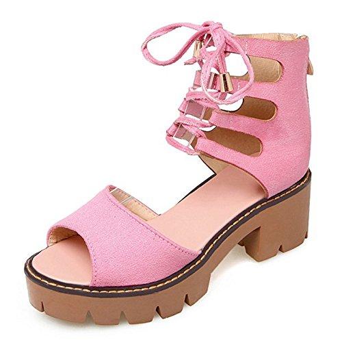RAZAMAZA Mujer Moda Cordones Sandalias Peep Toe Tacon Ancho Plataforma Zapatos Cremallera Rosado