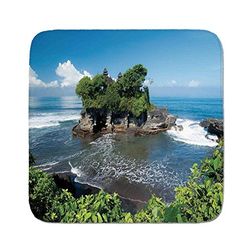 Bali Cushion Cover - Cozy Seat Protector Pads Cushion Area Rug,Balinese Decor,Tanah Lot Temple in Bali Island Wavy Ocean Historic Architecture Heritage Picture,Green Blue,Easy to Use on Any Surface