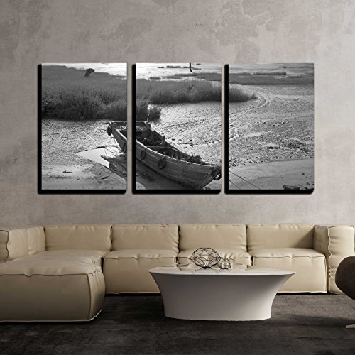 wall26 - 3 Piece Canvas Wall Art - Wooden Boat by the Bay - Modern Home Decor Stretched and Framed Ready to Hang - 16