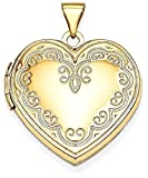 ICE CARATS 14k Yellow Gold Heart Photo Pendant Charm Locket Chain Necklace That Holds Pictures Fine Jewelry Gift Set For Women Heart