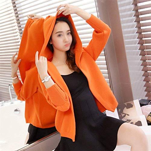 Leggero Autunno Casual Mode Maglia Incappucciato Arancia A Pullover Alta Marca Donna Lunghe Colore Elegante Giacca Di Puro Fashion Maniche Coat Giacche Qualità Bolawoo Outwear q7wOzXnE