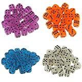 MagiDeal Set of 100 Acrylic Glow In The Dark 6 Sided Spot Dices for RPG Party Board Game Accessory
