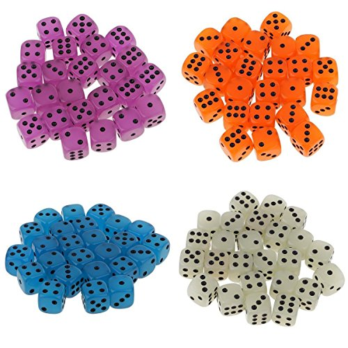 MagiDeal Set of 100 Acrylic Glow In The Dark 6 Sided Spot Dices for RPG Party Board Game Accessory by MagiDeal