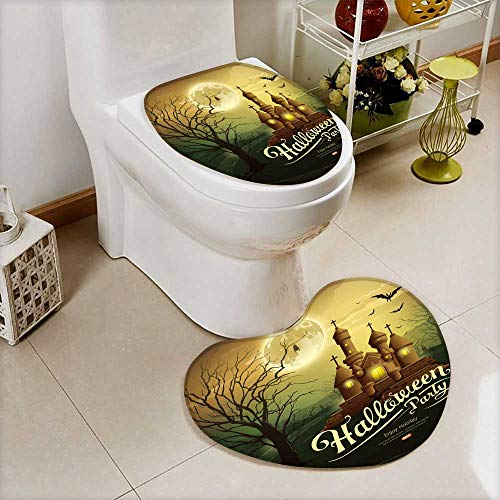 Analisahome Non-slip Bath Toilet Mat Happy Halloween party castles with message,bat,silhouette tree,moon Soft Non-Slip -