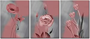 Welmeco Canvas Wall Art Decor Pink and Grey Flowers Prints Gallery Wrapped Ready to Hang Modern Home Office Living Room Bedroom Decoration