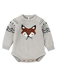 KONFA Toddler Newborn Baby Girls Boys Winter Clothes,Long Sleeve Knitted Cartoon Fox Rompers Crochet Jumpsuit Set