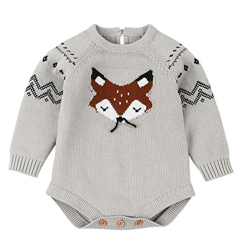 Sikye Infant Winter Romper,Knitted Warm Fox Cartoon Jumpsuit Sweater Onesie Outfits Unisex-Baby (Gray, 70 (0-6M))