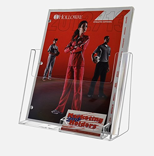 Marketing Holders Set of 10, Clear Plastic Magazine Holder with Pocket for Business Cards, Holds 8.5x11 Catalogs, for Tabletop Use by Marketing Holders