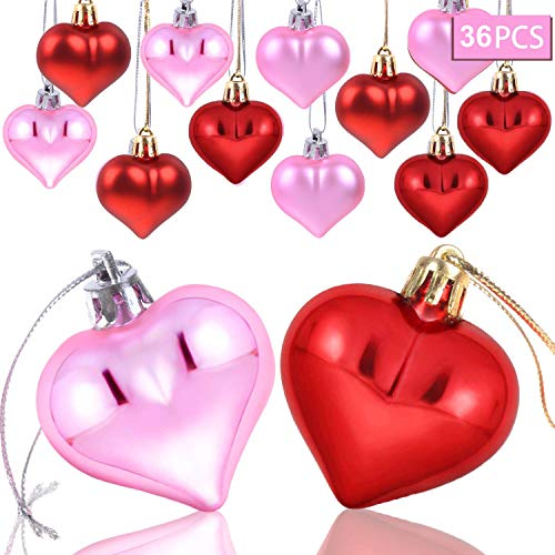 Olgaa 36 Pieces Heart Baubles Heart Shaped Valentine's Day Decorations Tree Baubles Matt Heart Decor Ornaments for Christmas New Year Holiday Home Party Decor,2 Types (Red,Pink)