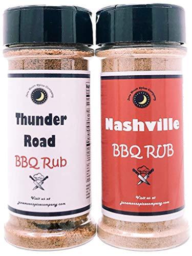 Premium | BBQ & RIB RUB SEASONING | Variety 2 Pack | Large Shakers | Thunder Road Sweet-n-Smoky BBQ Rib Rub | Nashville BBQ Rib Rub | 5.5 fl. oz.