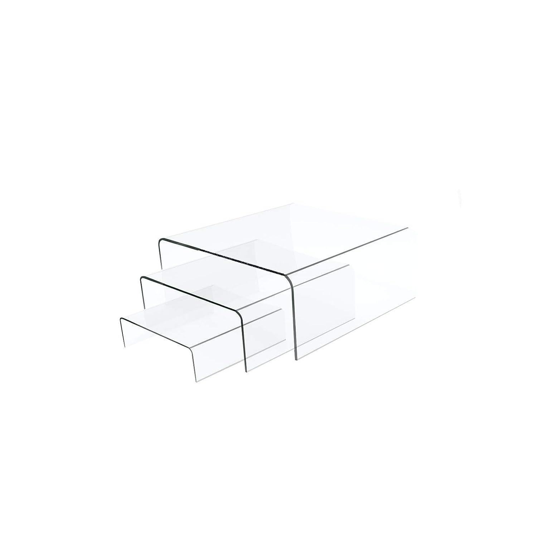 "Supwer Clear Acrylic Display Risers,Acrylic Display Riser Set of Three(3"",4"",5""),Clear Showcase, Jewelry, Candy Dessert Display Riser Shelf"
