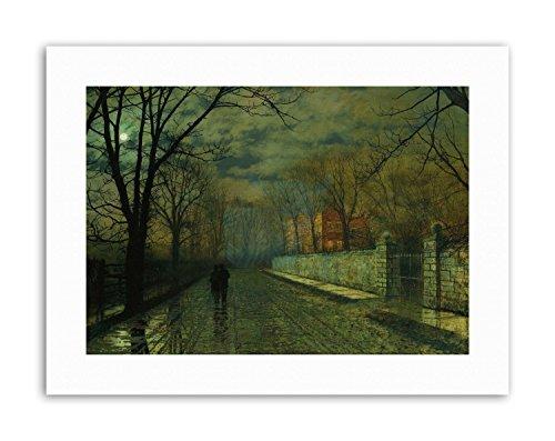 - Wee Blue Coo John Atkinson Grimshaw Figures Moonlit Lane RAIN Picture Canvas Art Prints
