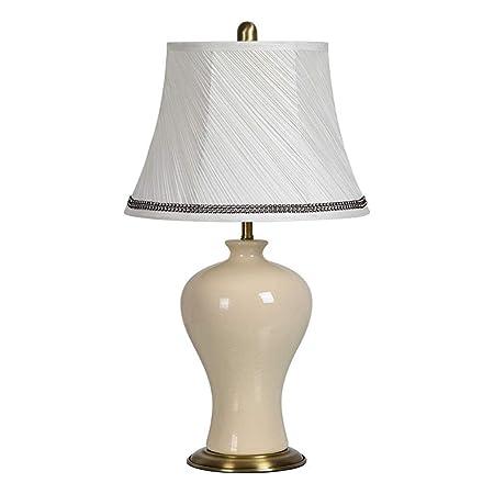 Europeo Retro de cerámica lámpara de Mesa Dormitorio cálido salón ...