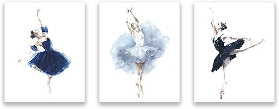 ballerina print ballet dance Watercolor a4 glossy poster nursery picture unframe