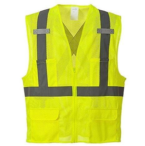 Large Yellow Portwest US370YERL Regular Fit Atlanta Mesh Vest
