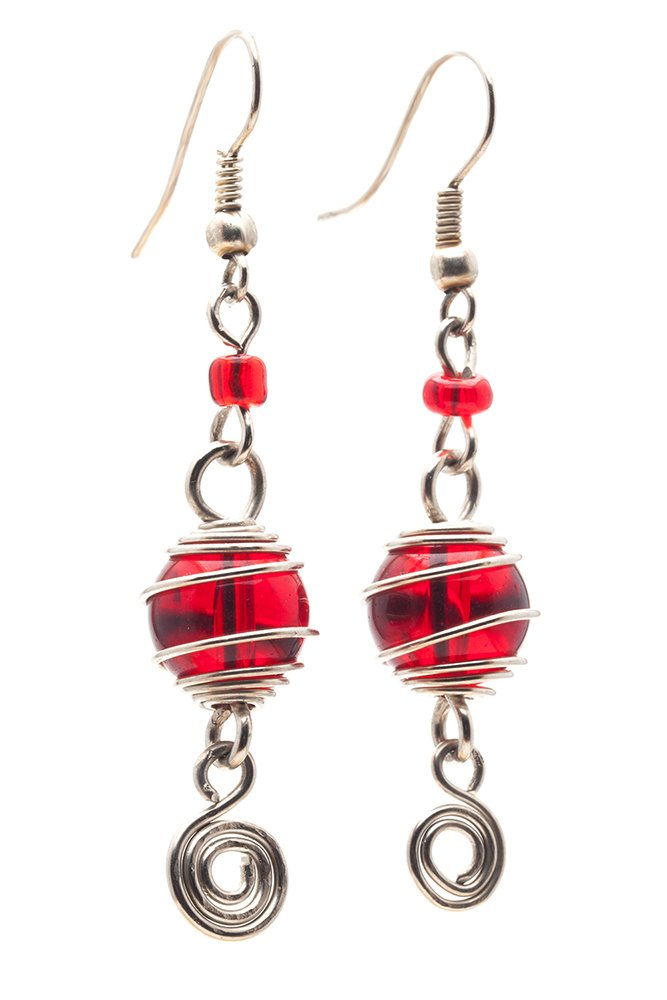 Maisha Fair Trade Wire Wrapped Glass Bead Drop Earrings, Red