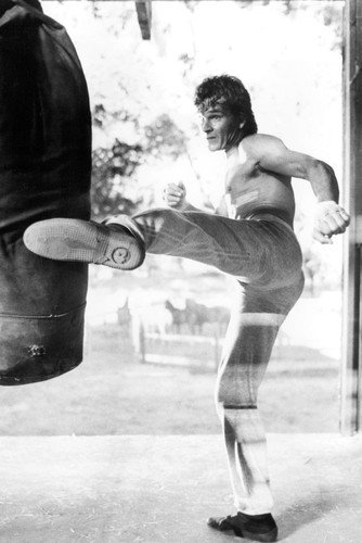 Patrick Swayze bare chested kicks punchbag cool pose Roadhouse Poster