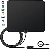 HDTV Antenna, StarTV TV Antenna for Digital TV Indoor 50 Miles Range with Detachable Signal Amplifier Booster for 1080P High Reception, Installation More Flexible, Stronger Signal