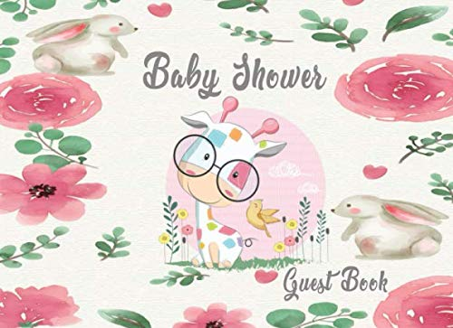 (Baby Shower Guest Book: Alternative design cover with giraffe friends babywith flower Welcome Baby giraffe friends baby happy in Fresh Flower ... (baby shower guest book for girl and boy) )