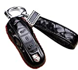 Genuine Leather Car Remote Key Fob Case Holder Cover Shell with Diamond Braided