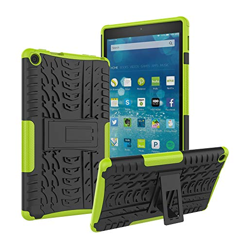 Roiskin Amazon Fire HD 8 Tablet Case (7th and 8th Generation, 2017 and 2018 Release), Anti-Slip Shockproof Impact Resistance Dual Layer Heavy Duty Protective Case Cover with Kickstand (Green)