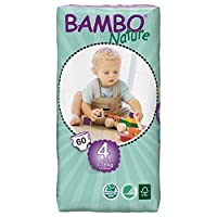 Bambo Nature Maxi Size 4 (15-40lb / 7-18kg) Premium Eco-Nappies - 60 pieces per Tall Pack