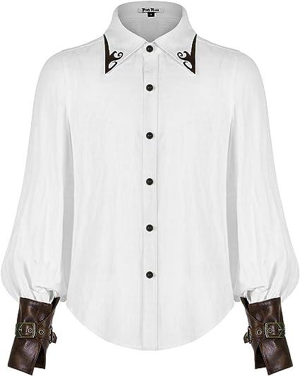 Punk Rave WY-1168 - Camisa de pirata estilo steampunk para hombre, piel sintética, estilo gótico, victoriano, estilo victoriano, estilo vintage: Amazon.es: Ropa y accesorios